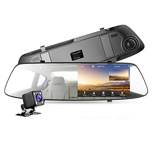 Backup Camera for Cars 4.3 Inch Mirror Dash Cam 1080P TOGUARD Touch Screen Front and Rear Dual Lens Car Camera with Parking Assistance, Rearview Mirror Camera with Waterproof Rear View Reverse Camera