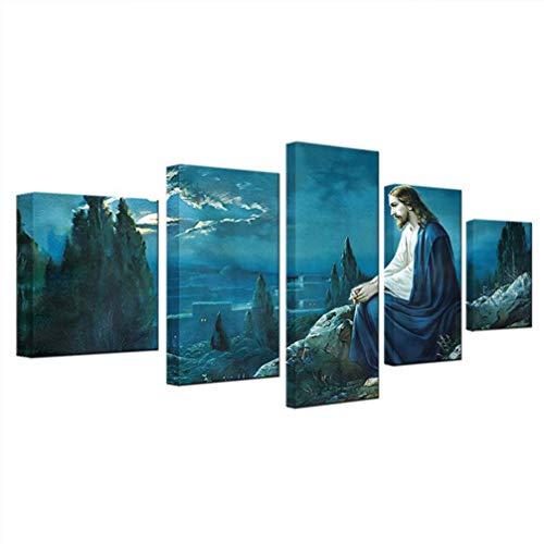 LIOOBO 5 paneles lienzo jesus enmarcado pinturas murales - jesucristo colgar cuadro - pintura de arte para el hogar y decoración de paredes