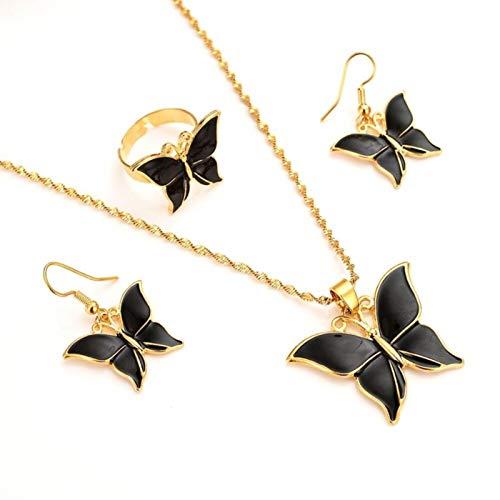 SALAN Dubai India 14k Fine Gold Gf Pendant Necklace Earrings Rings Women Butterfly Papua New Party Jewelry Sets Black Blue Green Gift