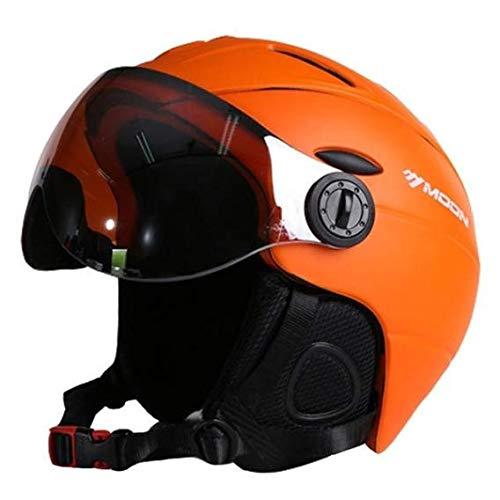 Heemtle 2-en-1 Ski Snowboard Casco Máscara de Nieve Desmontable Anti-Niebla Gafas Anti-UV Escudo Integrado Bajo Peso Adulto Hombres/Mujeres (M/L/XL)