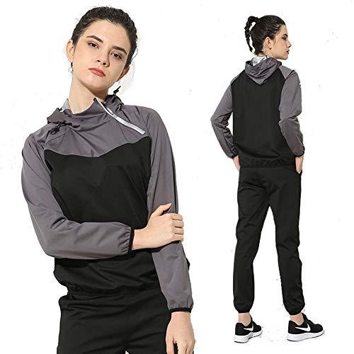 Sauna Trainingsanzug Sportanzug Damen Saunaanzüge Schwitzanzug Abnehmen Fitness Trainingsjacke Saunahose (Color : Gray, Size : XXL)