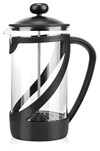 COM-FOUR® cafetera con sistema de prensa frances - la prensa de cafe tambien sirve como tetera - cafetera con cilindro de vidrio (01 pieza - cafetera 1 litro)