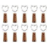 Qedertek Lot de 10 Guirlande Lumineuse à Piles 2M 20 LED Guirlande en fil Cuivre Bouchon Bouteille Vin pour Décoration Noël, Bar, Chambre, Mariage (Blanc Chaud, Livré avec 6 Piles)