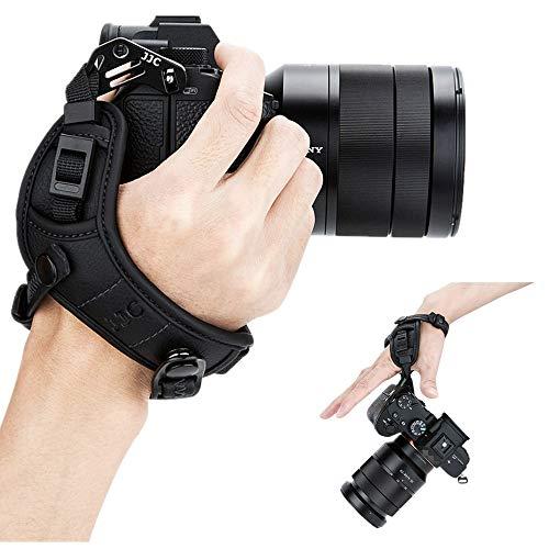 JJC カメラハンドストラップ カメラ リストストラップ Sony ZV-E10 A7C A7SIII A7RIV A7RIII A7RII A7R A7III A7II A7 A7SII A6100 A6600 A6500 A6400 A6300 A6000 A5100 A5000 A99II A99 A77II A77 RX10 IV III II RX1R HX350 HX400V H400 H300カメラ 適用 黒い