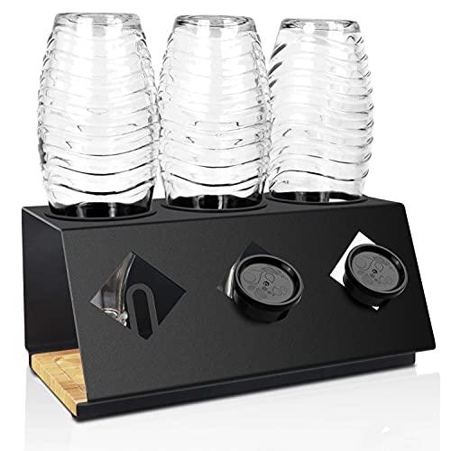 KYONANO Premium Flaschenhalter Sodastream geeignet, Abtropfhalter Zubehör für Sodastream inkl. Deckelhalterung, Halter für Sodastream, Spülmaschinenfest Abtropfständer für 3 SodaStream Flasche schwarz
