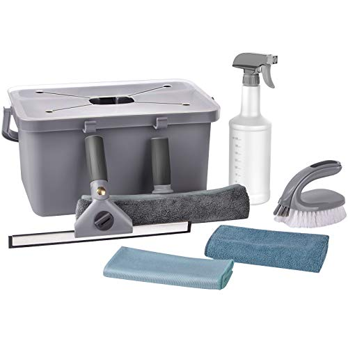 MR.SIGA Window Cleaning Kit with Storage Caddy, Professional Window Washing Equipment, Multi-Purpose Household Cleaning Supplies Kit