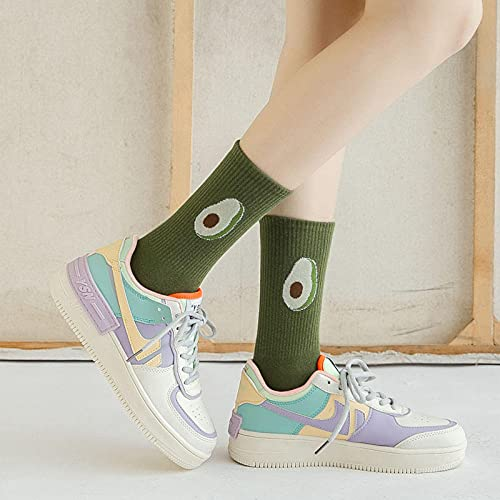 MIWNXM 10 Pares Cartoon Socks Kawaii Designer Animal Print Panda Avocado Harajuku Cute Women Cool Sock