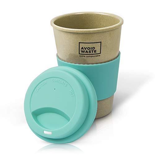 Avoidwaste Nachhaltiger Kaffeebecher to go aus Reishülsen. Der Mehrweg-Becher ist pflanzlich, biologisch abbaubar, BPA frei, spülmaschinengeeignet und umweltfreundlich (türkis)
