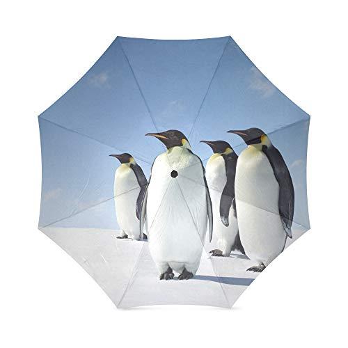 Reise-Regenschirm, faltbar, winddicht, kompakt und leicht, UV-Schutz, Pinguin