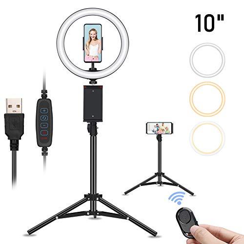 Selfie Ringleuchte Stativ mit Fernbedienung, Tischringlicht, Live Licht, 10 Helligkeitsstufen 3 Farbe, für live Streaming, Tik Tok, YouTube, Schöne Fotos oder Videosschooting, Schminken, 10 Zoll