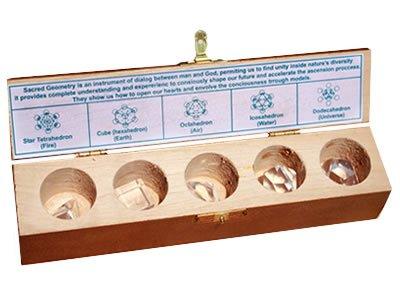 Lcbe - Platón sólido de piedra de cristal de roca en caja de madera