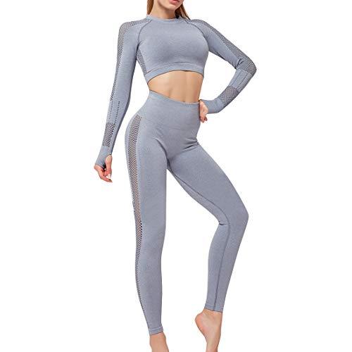 OEAK Damen Sportanzüge Jogginganzug Sport Sets Hosen oder Sport Crop Langarmshirt 2 Stücke Bekleidungssets Yoga Outfit Freizeitanzug Sportswear