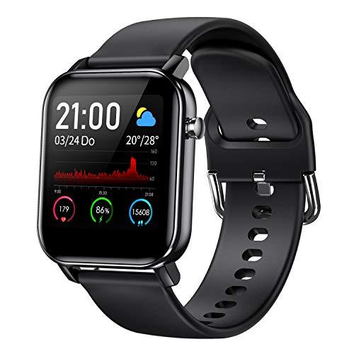 COULAX Smartwatch, Fitness Tracker Armband mit 1.4 Zoll Touch Farbdisplay, Sportuhr mit Pulsmesser Schlafmonitor Musiksteuerung Schrittzähler Stoppuhr für Damen Herren