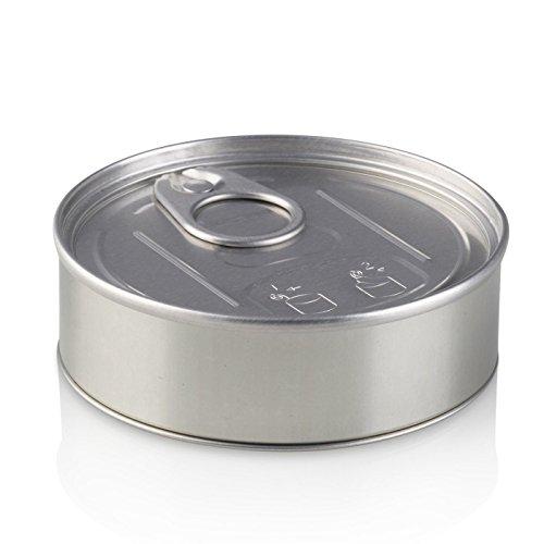 Presssitin Press It In Thunfisch-Blechdosen, 100 ml, 3,5 g Fassungsvermögen, schwarzer Deckel, selbstversiegelt, geruchssicher, silber, 100 ml