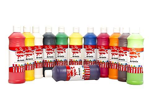 Scolaquip Artmix Verschiedene Farben Farbe, 12 x 600ml, Supplies Educational Kunst für Kinder
