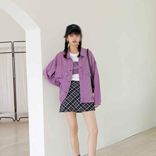 XYZMDJ Chaqueta de Herramientas de Mezclilla Femenino Primavera y otoño Coreano Suelte All-Match Chaqueta Chaqueta Abrigo (Size : Large Size)