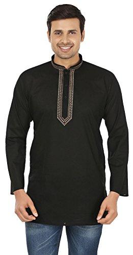 MapleClothing Baumwollkleid Mens Short Fischerhemd Indien Mode Kleidung (Schwarz, S)