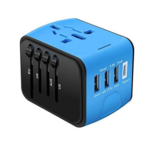 yooap Travel Power Adapter, 4puertos USB, 1puerto de Type C, 8tipos de Tomas de corriente, funciona en 170País en el mundo