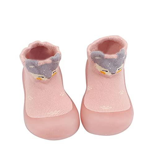 Calcetines de suelo suaves para bebé, zapatos para aprender a andar, zapatos para niños, niñas, antideslizantes, para interior, zapatos de punto, transpirables., Rosa., 20