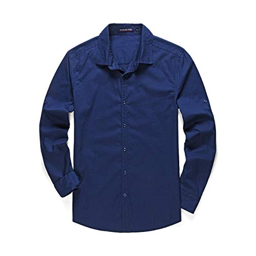 MCLOANTH Men's Long Sleeves Button Down Solid Regular Fit Shirts 100% Cotton Rolled-up Casual Shirts - Blue - Medium