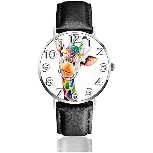 Giraffe Gemälde Uhren Pu Leder Armbanduhr Quarzuhr