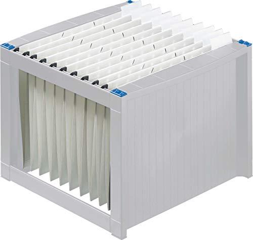 Helit H6110084 - Caja de archivo (para carpetas colgantes, 260 x 360 x 380 mm), color gris y blanco