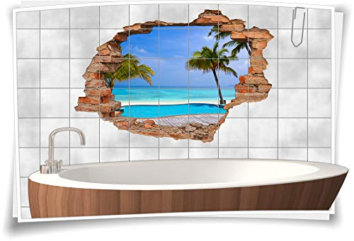 Medianlux Fliesentattoo Badezimmer türkis WanddurchbruchStrand Palmen Fliesenbilder Spa Wellness Fliesenaufkleber Meer, 90x60cm, 15x20cm (BxH)