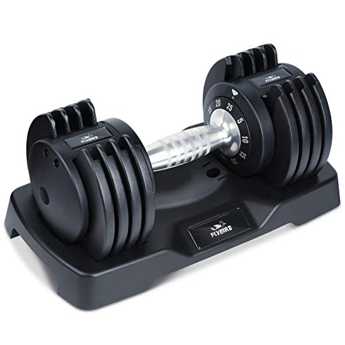 FLYBIRD Adjustable Dumbbells,25 lb Single Dumbbell for Men and Women with Anti-Slip Metal Handle,Fast Adjust Weight by Turning Handle,Black Dumbbell with Tray Suitable for Full Body Workout Fitness