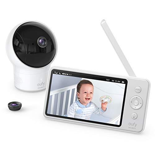eufy Security SpaceView Babyphone mit 5 Zoll LCD-Display, 720 HD, 140m Reichweite, Weitwinkelobjektiv, präzise Nachtsicht, beidseitige Audiofunktion, 2900mAh Akku, Temperatursensor, smarte Meldungen