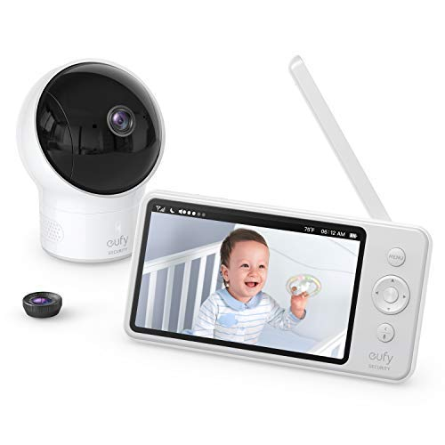 eufy Security SpaceView Babyphone, 5 Zoll LCD-Display, 720 HD, 140M Reichweite, Weitwinkelobjektiv, präzise Nachtsicht, beidseitige Autofunktion, 2900mAh Akku, Temperatursensor