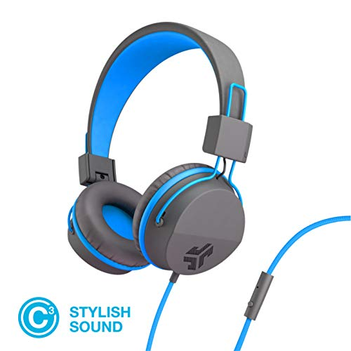 JLab Audio Neon Folding On-Ear Headphones   Wired Headphones   Tangle Free Cord   Noise Isolation   40mm Neodymium Drivers   C3 Sound (Crystal Clear Clarity)   Graphite/Blue