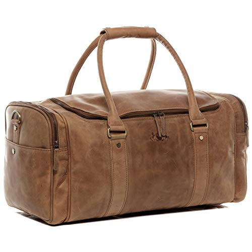 SID & VAIN Travel Bag Holdall Paul Large Duffel Bag Real Leather cm Weekender Duffle Leather Bag Men´s Bag Brown