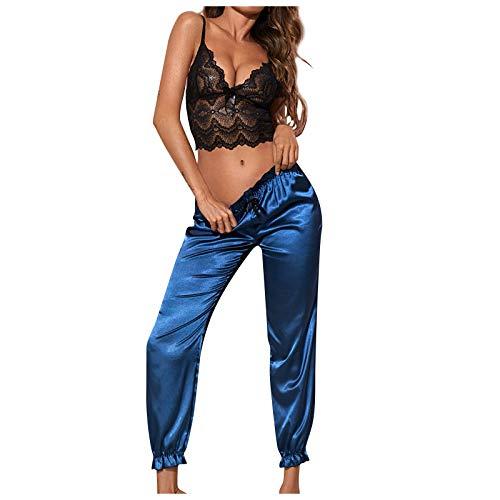 Ghemdilmn Damen Satin Schlafanzug Zweiteiliger Pyjama Set Spitze V-Ausschnitt Top & Lange Satin Hosen Nachtwäsche Dessous Set