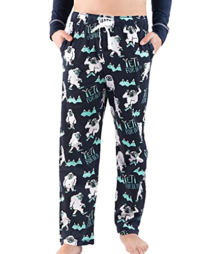 Lazy One Pajama Pants for Men, Men's Separate Bottoms, Lounge Pants, Mythical Creature, Winter (Yeti for Bed, Large)