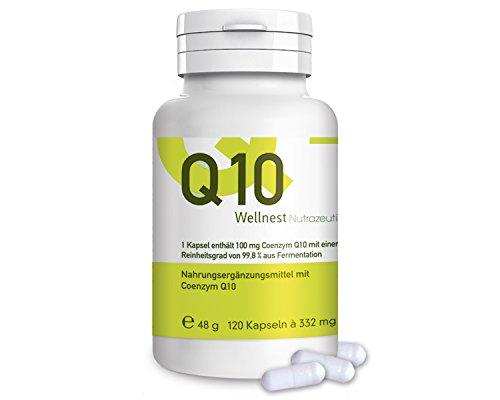 Wellnest Coenzym Q10 100mg (120 Kapseln) aus Bio-Fermentation | ohne künstliche Farb- oder Geschmacksstoffe - 100% natürlich und vegan