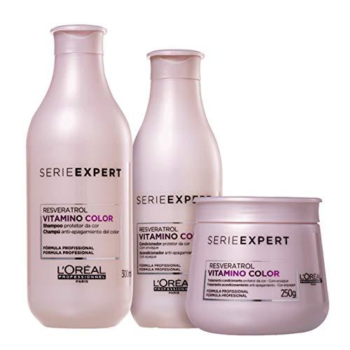 Kit L'Oréal Professionnel Vitamino Color Resveratrol - Shampoo 300ml + Condicionador 200ml + Máscara 250g