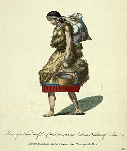 Thomas Jefferys Giclee Auf Leinwand drucken-Berühmte Gemälde Kunst Poster-Reproduktion Wand Dekoration(Gewohnheit einer Frau des Christianou zur Nation von Nordamerika Frau der Nation) #XFB