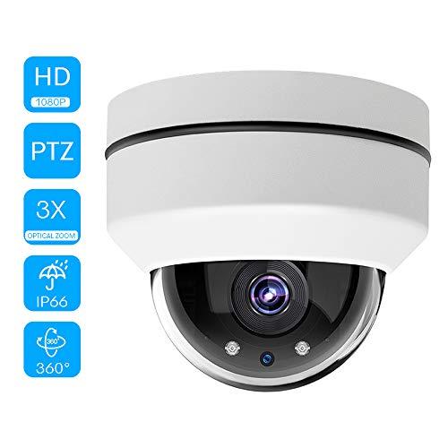 """Leepesx 2.5""""Mini Outdoor 2.0MP HD 1080p PTZ Cámara de Enfoque Fijo, Exterior PoE PTZ Security IP Dome Camera con Zoom óptico de 3X, visión Nocturna por Infrarrojos"""