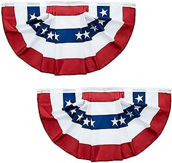 2-Count 3x1.5 Feet USA Pleated Fan Flag