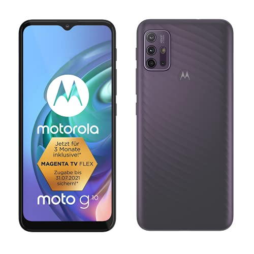 "Motorola moto g10 (6,5""-Display, 48-MP-Kamera, 4/64 GB, 5000-mAh, Dual-SIM, Android 11) Aurora Grey, inkl. Schutzcover + KFZ-Adapter [Exklusiv bei Amazon]"