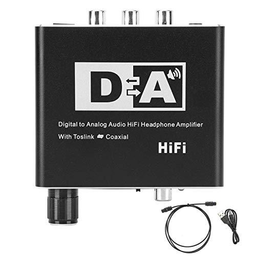 Convertidor de audio digital a analógico RCA 3,5 mm Jack Coaxial Cable óptico Adaptador Decodificador, 7,9 oz