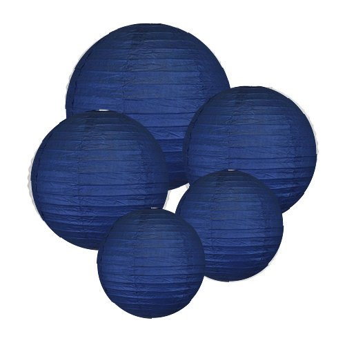 """8"""" 10'' 12'' Navy Blue Paper Lanterns (Set of 5) - Click for more Chinese/Japanese Paper Lantern Colors & Sizes! …"""