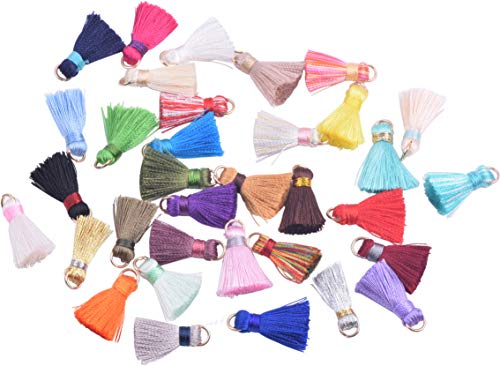 KONMAY 100pcs 2.0cm/0.8'' Mixed Small Silk Tassels with Jump Ring, 0.2'' Width Tiny Handmade Mala Tassels for Jewelry Making, Crafting, Clothing
