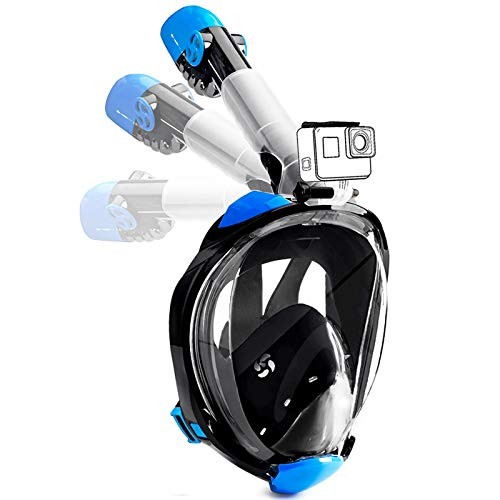 Snorkeling Mask Full Face Diving Masks Swimming Mask for Adults or Kids with Upgraded Safety Breathing System 180°Seaview Easy Breathing Detachable Camera Mount (Black, S/M)