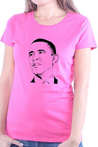 Mister Merchandise Ladies Frauen Damen T-Shirt Barack Obama, Größe: XL, Farbe: Pink