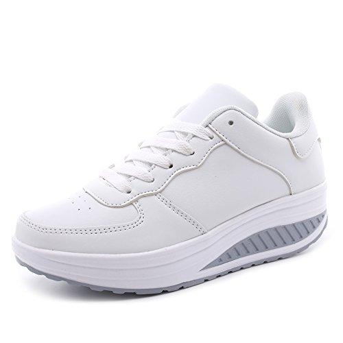 Hoylson Zapatillas Deportivas de Mujer Zapatos de Cuña Aptitud Sneakers Calzado para Damas(Blanco sin algodón, EU 37)