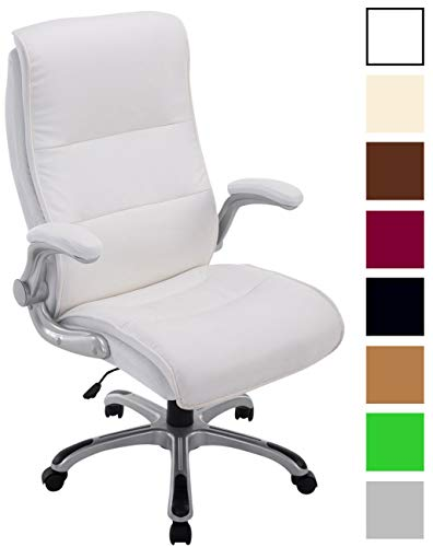 Bürostuhl XXL Villach mit Kunstlederbezug I Höhenverstellbarer Schreibtischstuhl mit klappbaren Armlehnen I Drehstuhl mit Laufrollen, Farbe:weiß