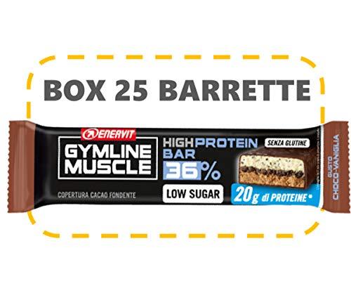 Enervit Gymline Muscle 36% High Protein Bar Confezione 25 Barrette da 55g (Choco-vaniglia (copertura cioccolato fondente))