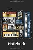 DJ Synthesizer Notizbuch: DJ Mischpult Notizbuch für Musiker & Synth Musik Fans - Vintage Mischpult Notizbuch - 120 linierte Seiten für Termine, ... Idee für IDM, Techno Electro Freunde.