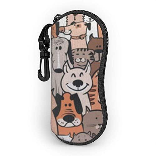 Funda de Gafas Perros y gatos divertidos dibujos animados Ultra Ligero Neopreno Suaves viaje Estuche para Gafas de caso Bolsa con Clip de Cinturón